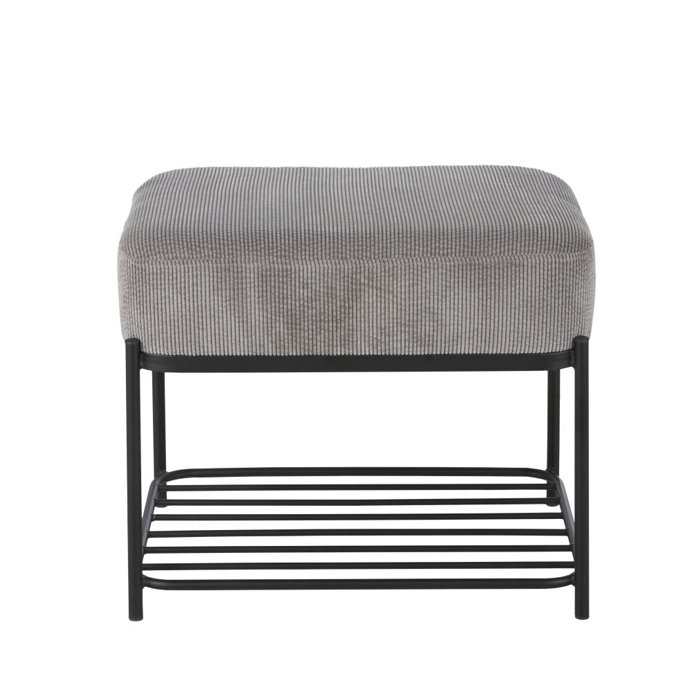 Banc en métal noir et coussin en velours gris