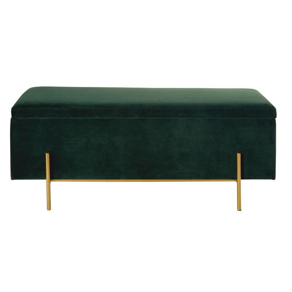 Banquette coffre en velours vert et métal doré