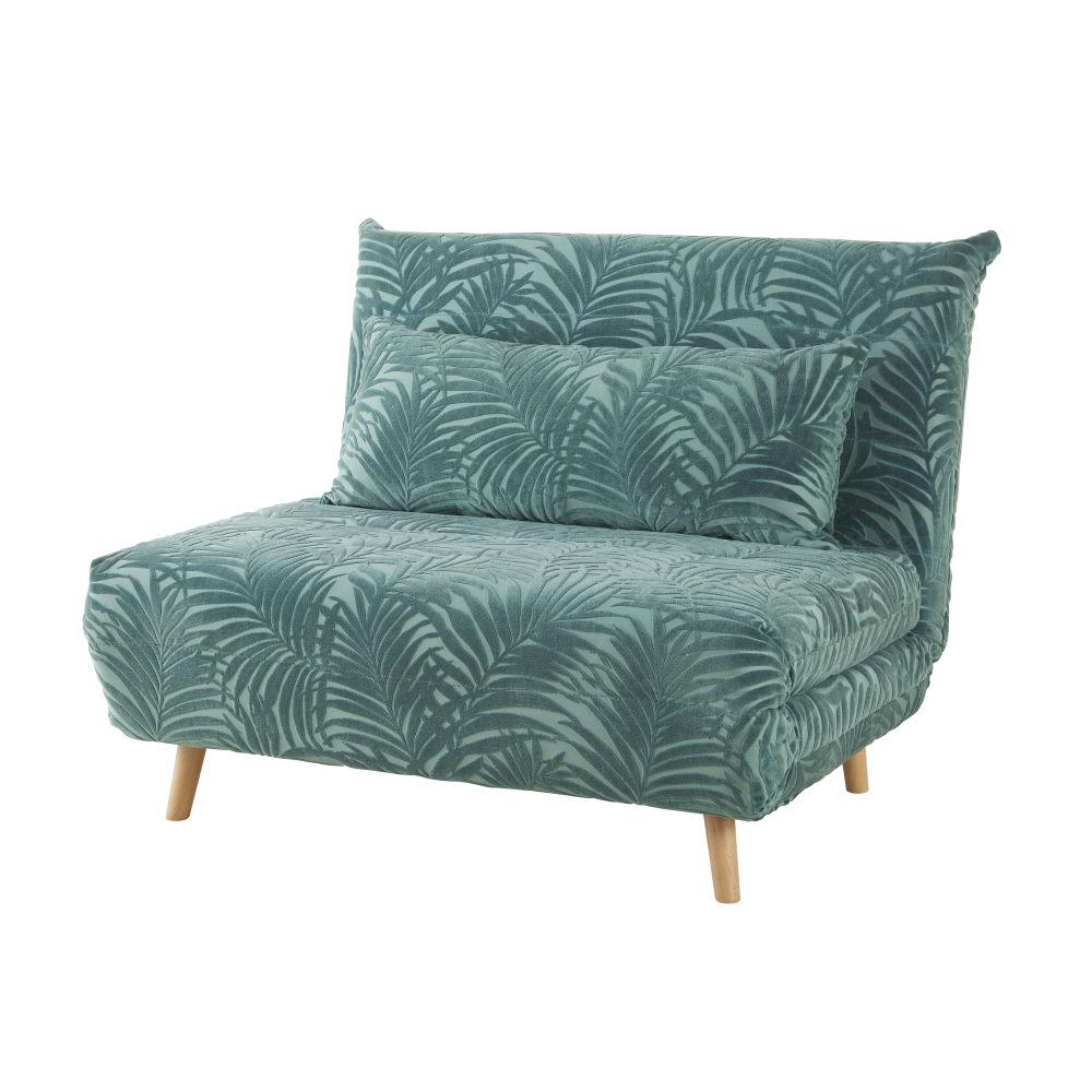 Banquette convertible 1 place en velours vert motifs palmiers