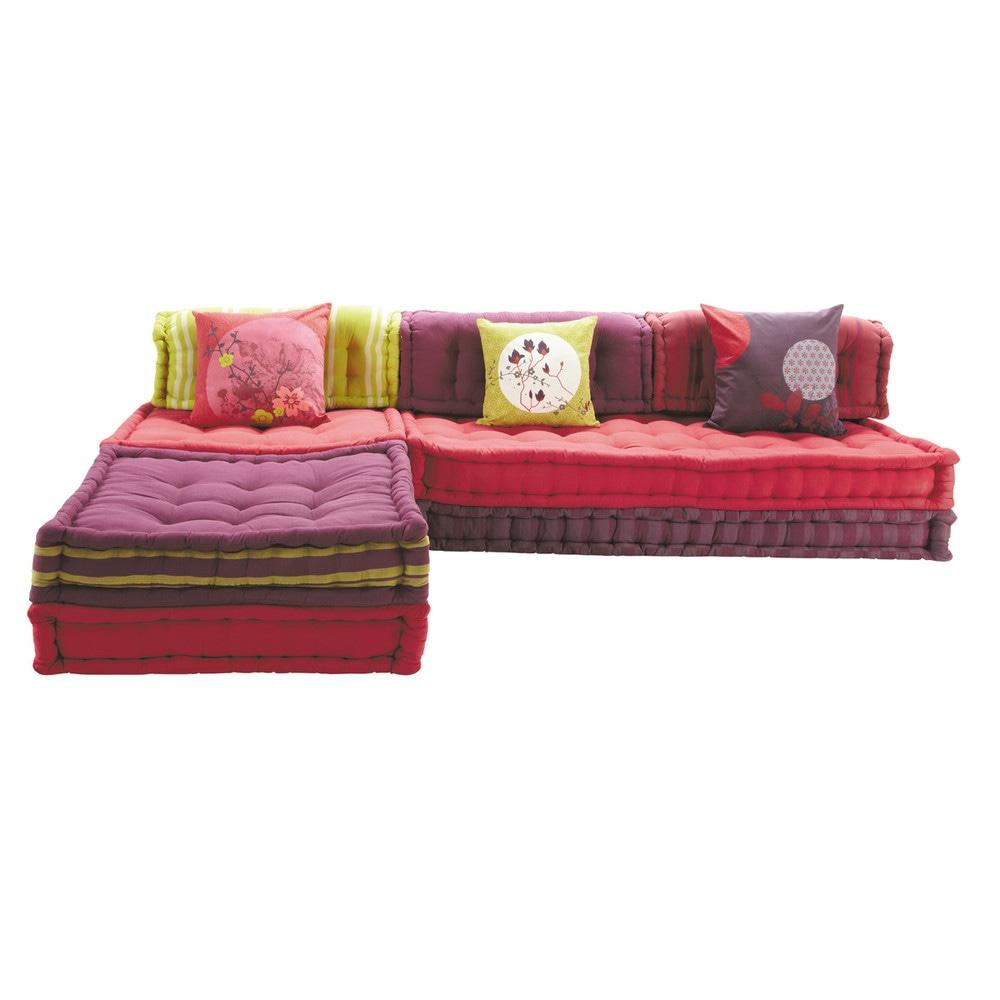 Banquette d'angle modulable 6 places en coton rose