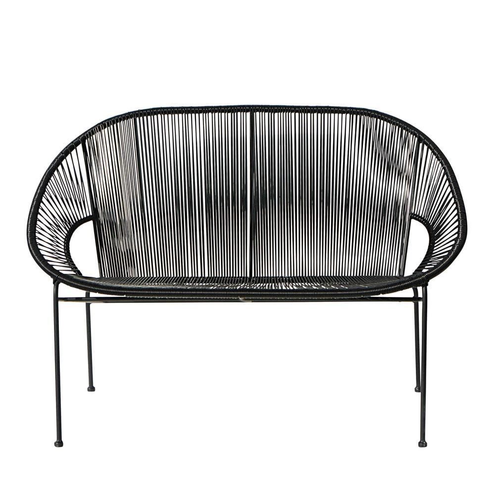 Banquette de jardin empilable 2/3 places en fil de résine et métal noir