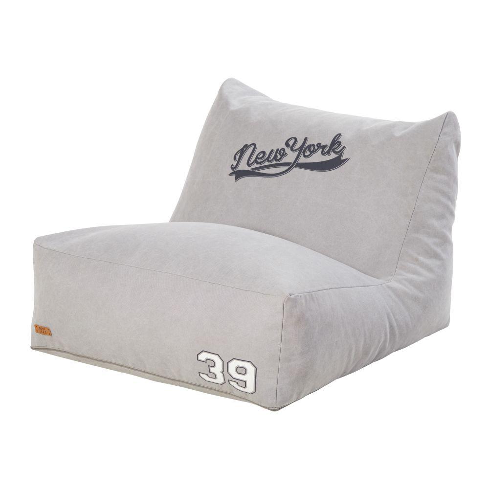 Baumwoll-Sitzpouf, grau mit Druckmuster