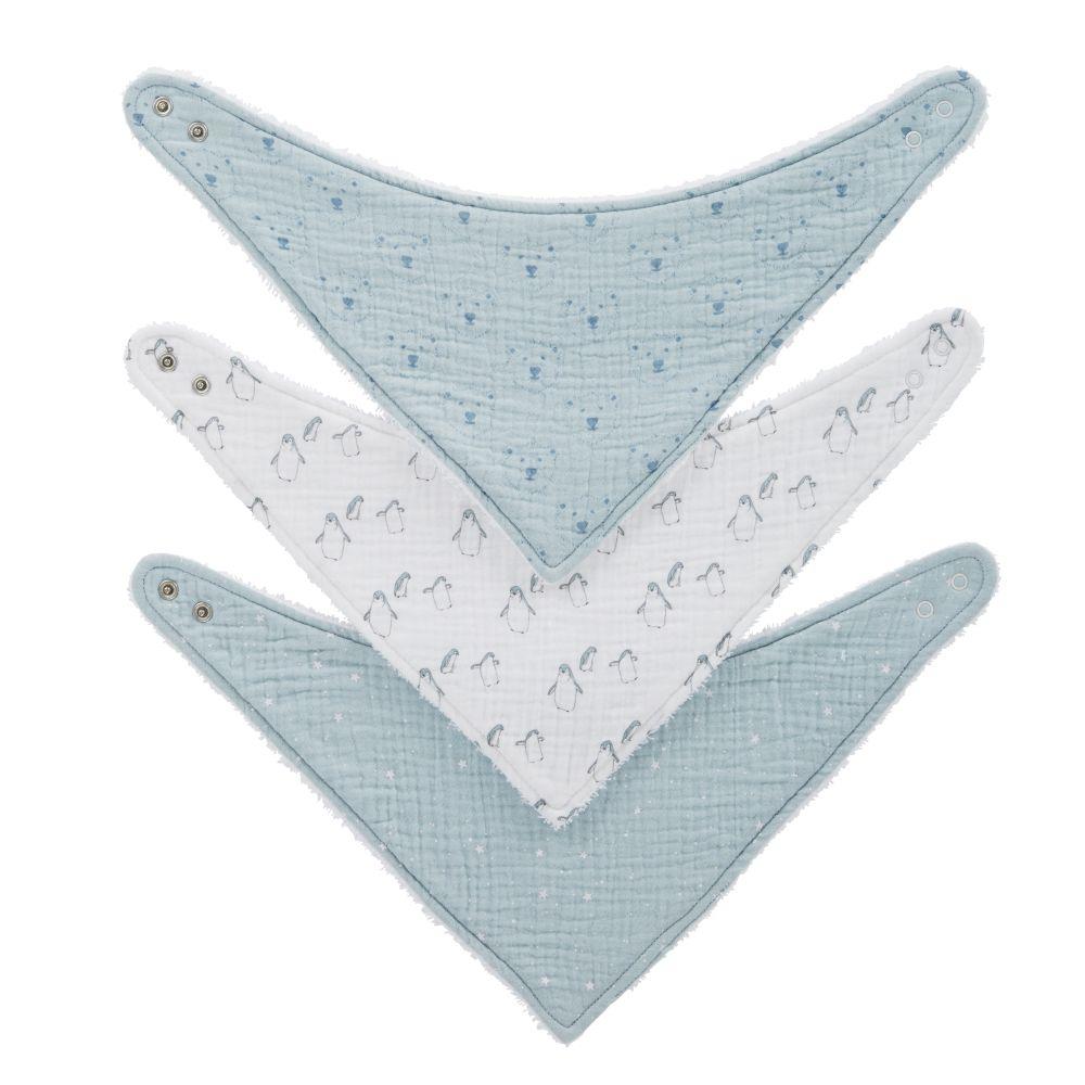 Bavoirs bandanas en coton bio à motifs blancs, gris et bleus (x3)