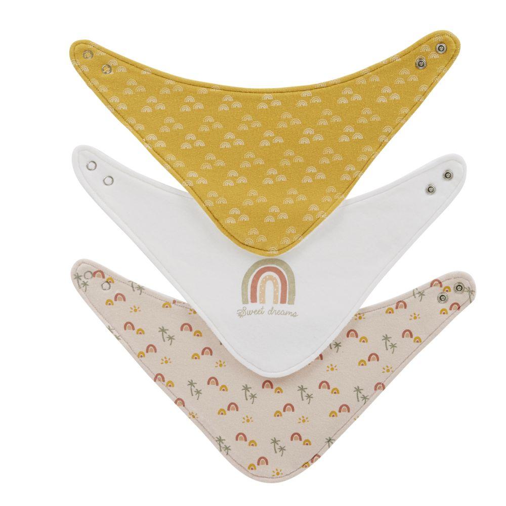 Bavoirs bandanas en coton rose, jaune, écru et doré (x3)