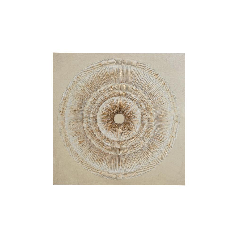 Beige En Wit Geschilderd Canvas 100 X 100 Cm