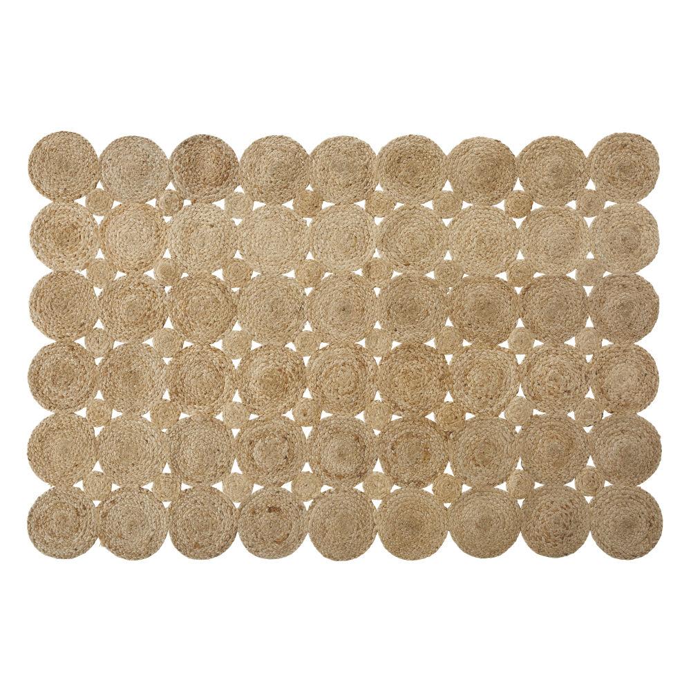 Beige Juten Tapijt Met Cirkels 140 X 200 Cm