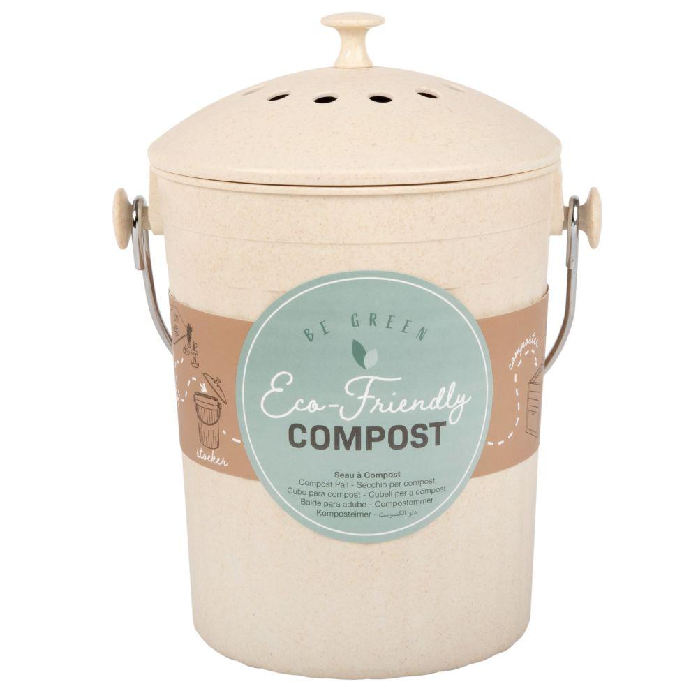 Beigefarbene Kompostbehälter