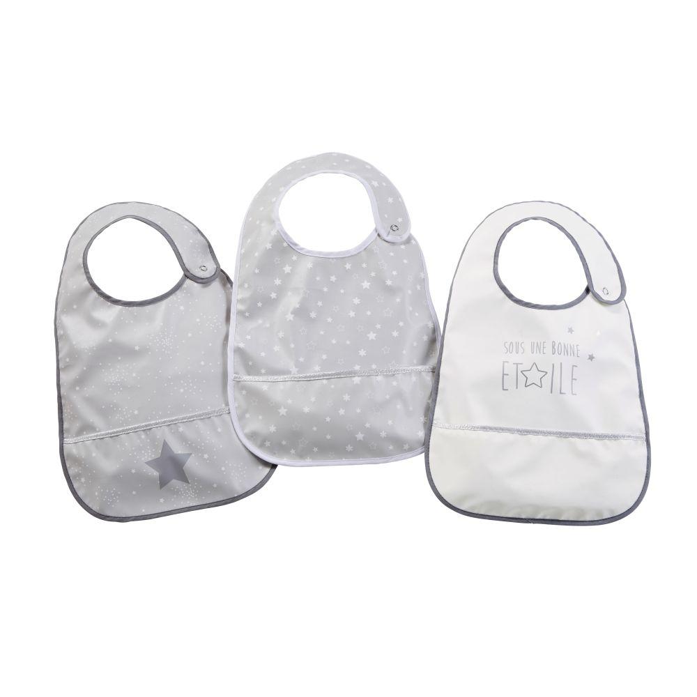 Beschichtete Lätzchen, grau, weiß und silbern, gemustert (x3)