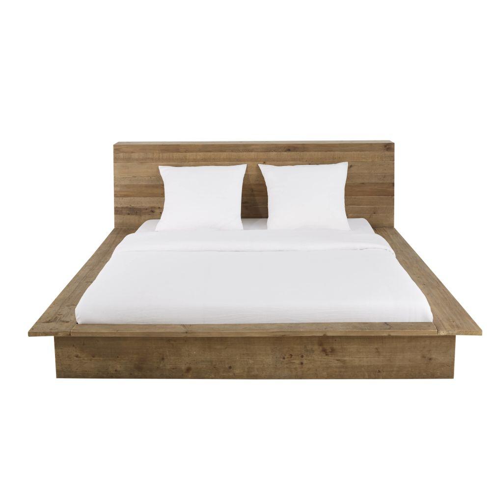 Bett aus Recycling-Kiefernholz mit Aufbewahrungsmöglichkeiten 160x200