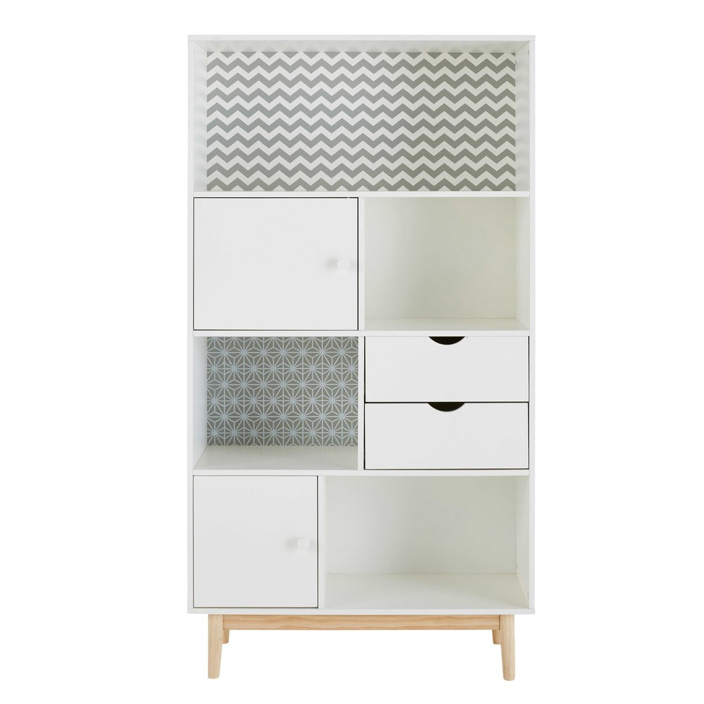 Bibliothèque 2 tiroirs 2 portes blanche à motifs