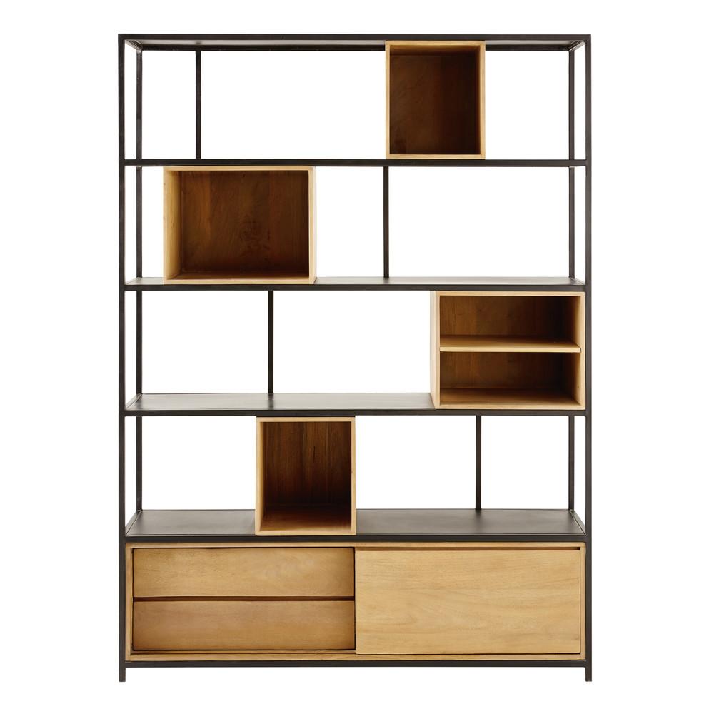 Bibliothèque 2 tiroirs en métal noir et manguier massif