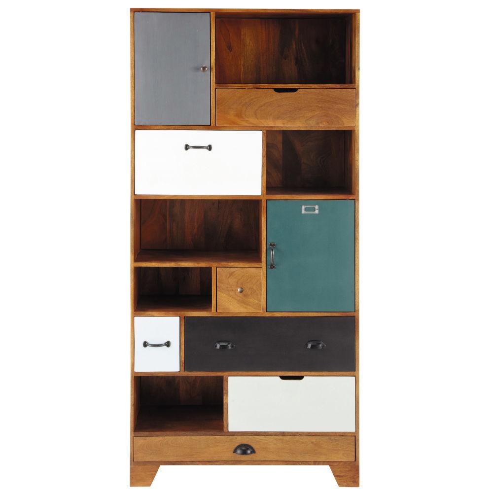 Bibliothèque 6 tiroirs 2 portes en manguier multicolore