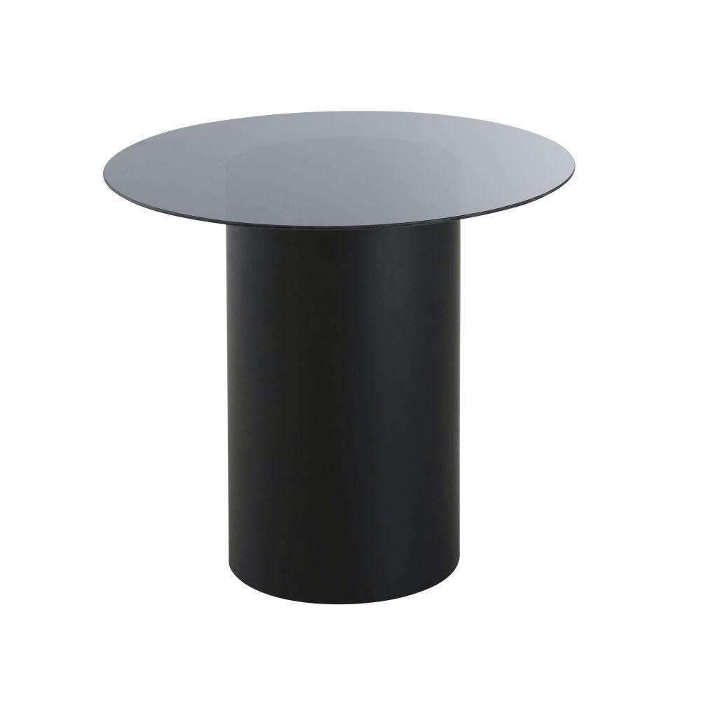 Bijzettafel Uit Metaal En Zwart Glas