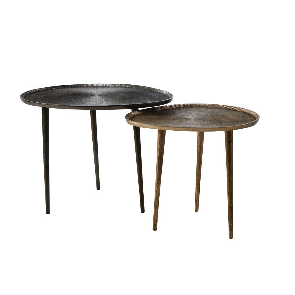 Bijzettafel Uit Zwart En Bronskleurig Aluminium (x2)