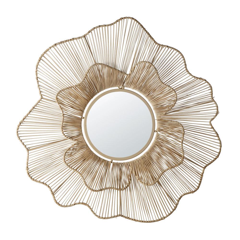 Bloemvormige Spiegel Met Draadstructuur Van Gevlochten Rotan D90