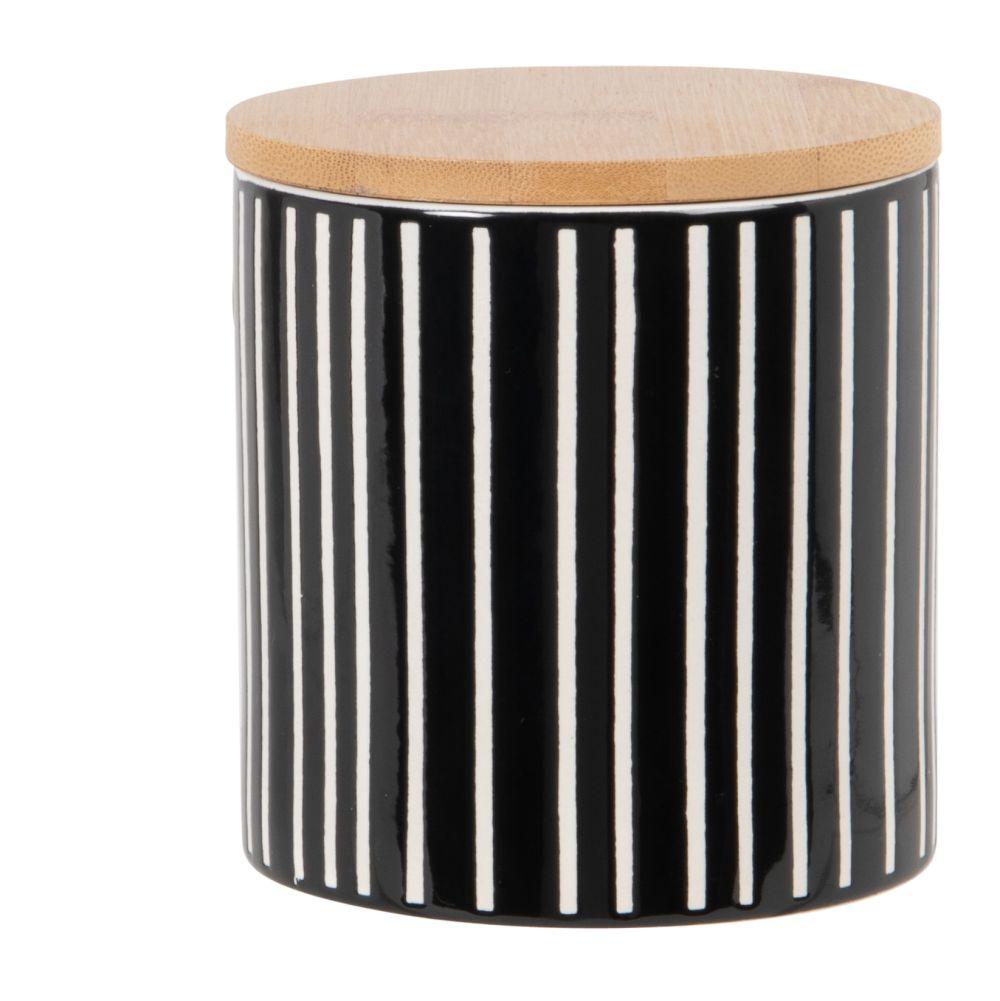 Bocal en faïence blanche et noire et couvercle en bambou H11