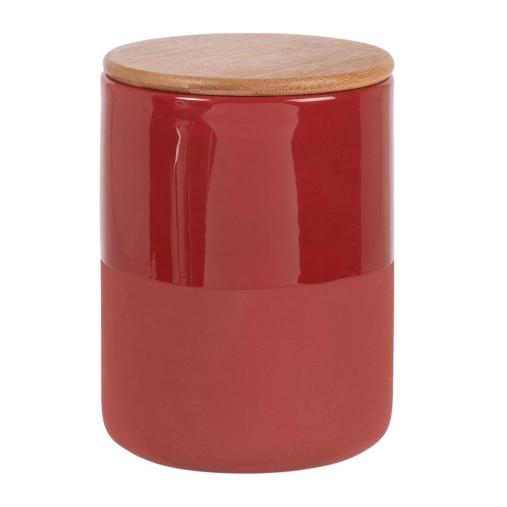 Bocal en faïence rouge et beige et couvercle en bambou H14