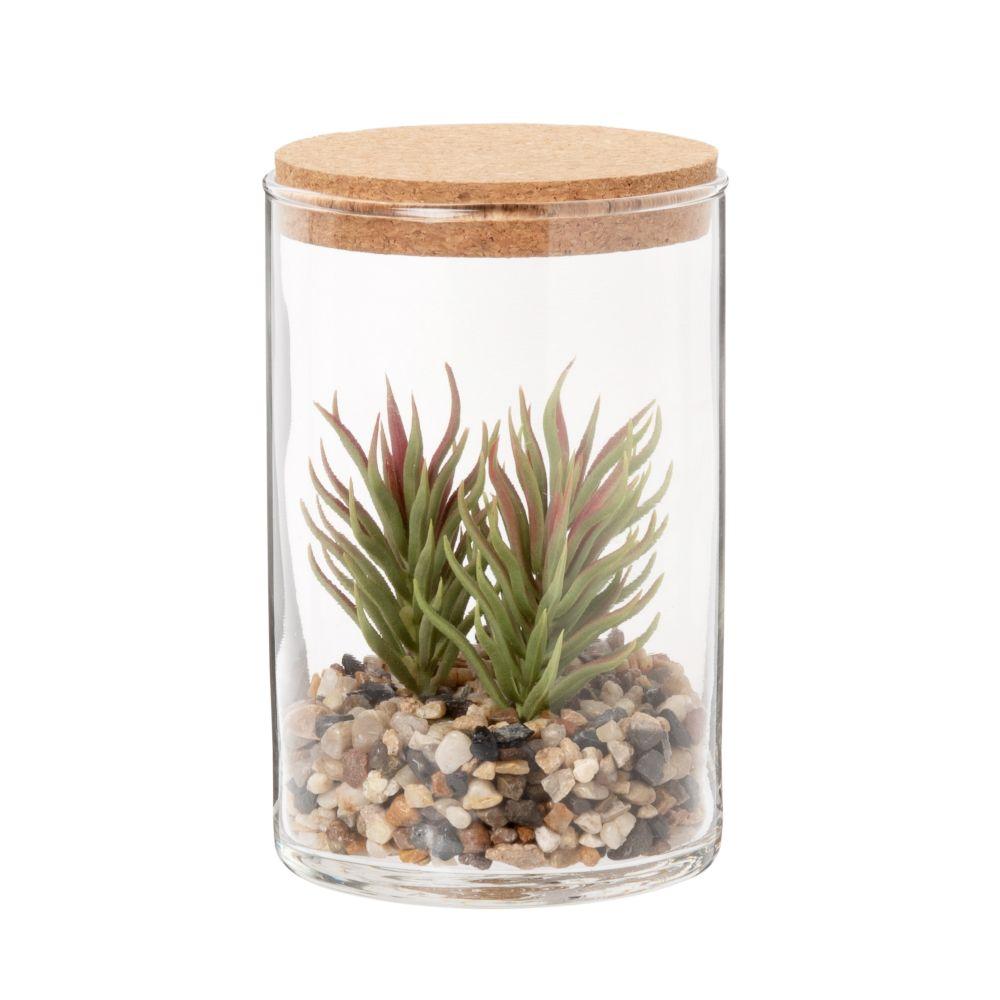 Bocal en verre avec plante artificielle
