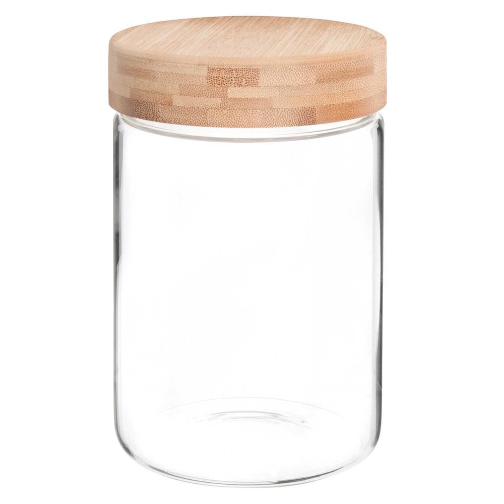 Bocal en verre et bambou H.17