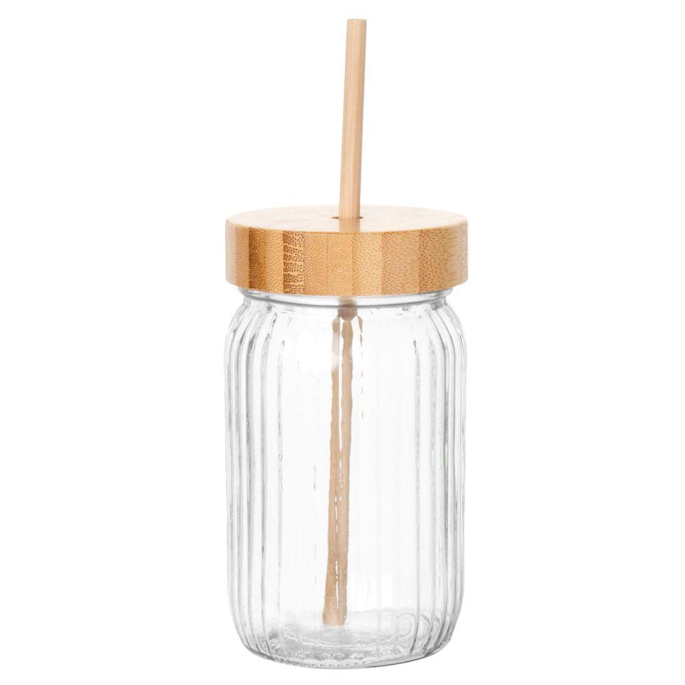 Bocal en verre strié et bambou avec paille