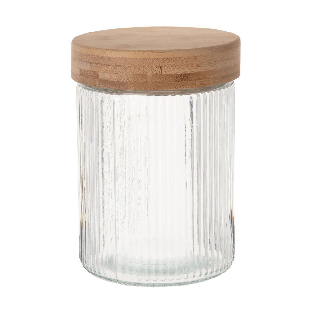 Bocal en verre strié et couvercle en bambou H17