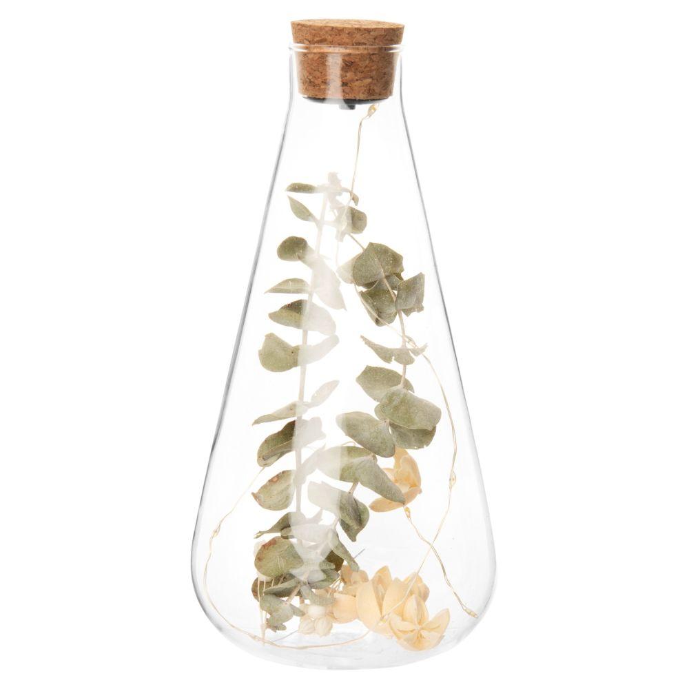 Bocal goutte lumineux en verre, bouchon en liège et fleurs séchées H24