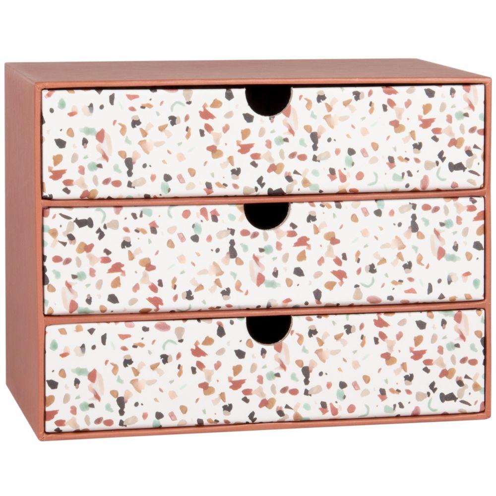 Boîte 3 tiroirs terracotta et blanche à motifs