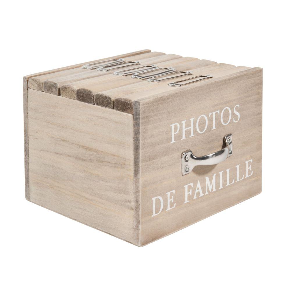 Boîte 6 albums photo en bois 13 x 17 cm