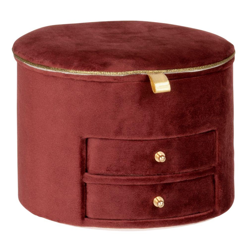 Boîte à bijoux 2 tiroirs effet velours rose