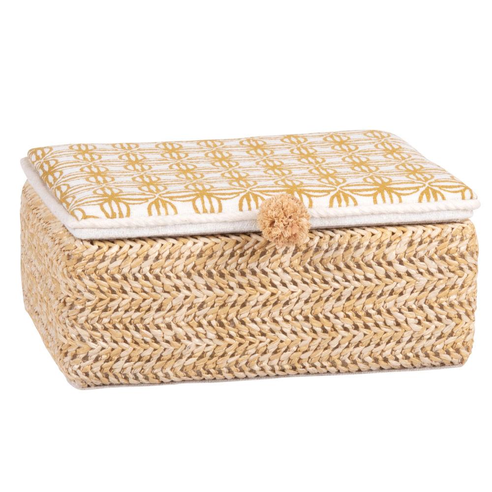 Boîte à bijoux blanche à motifs graphiques jaunes