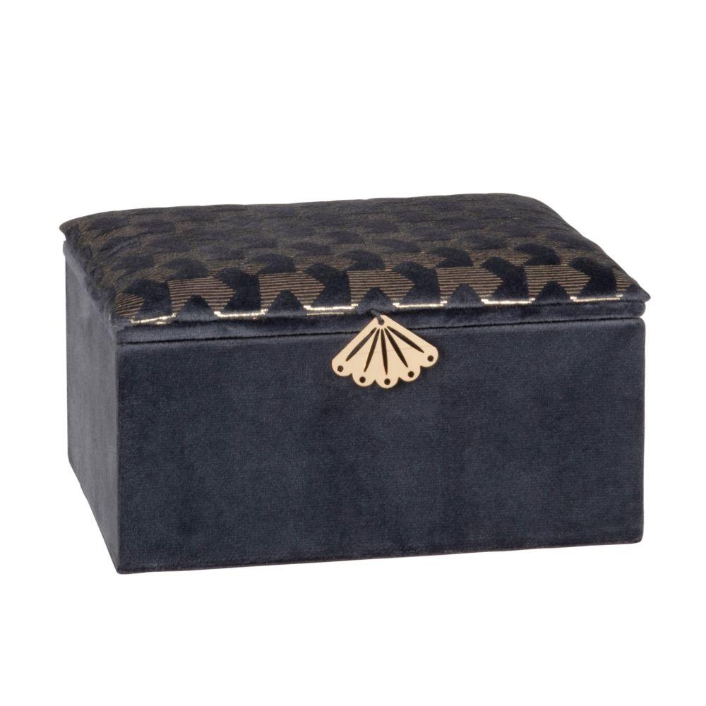 Boîte à bijoux effet velours bleu motifs graphiques