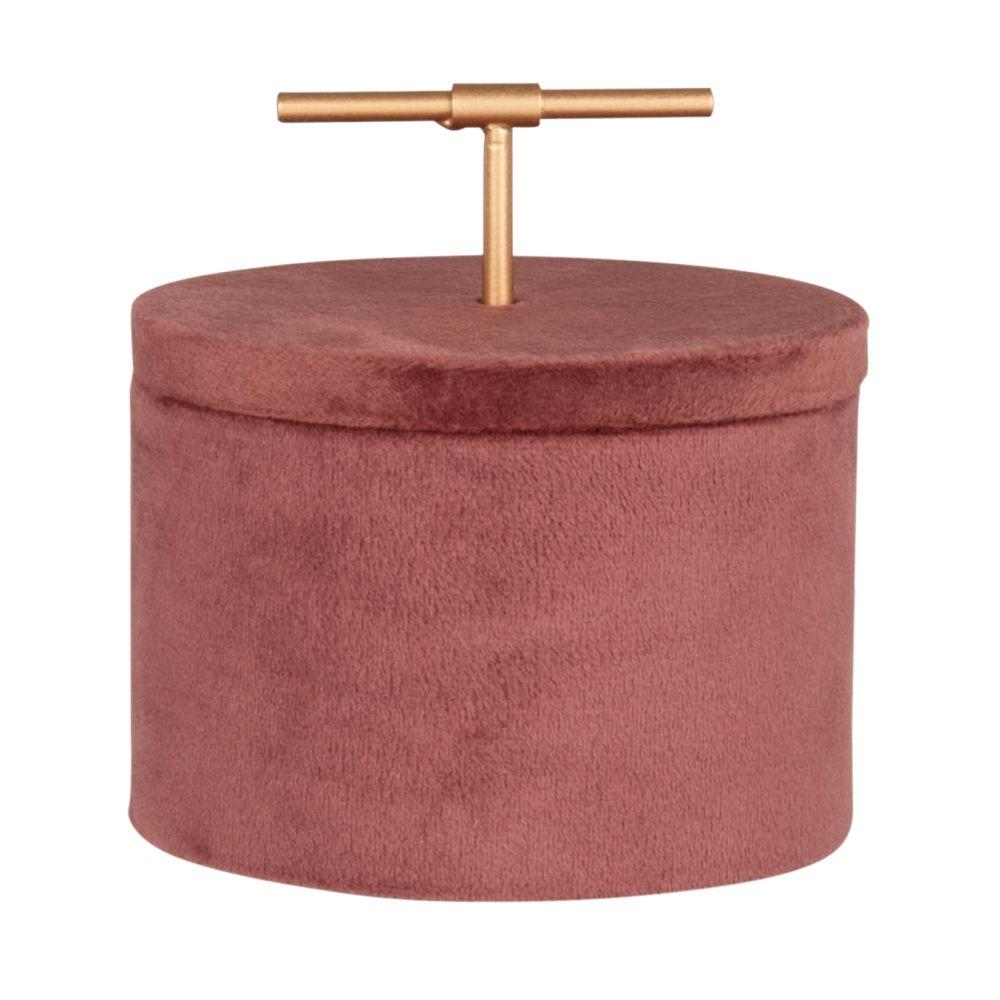 Boîte à bijoux effet velours rose