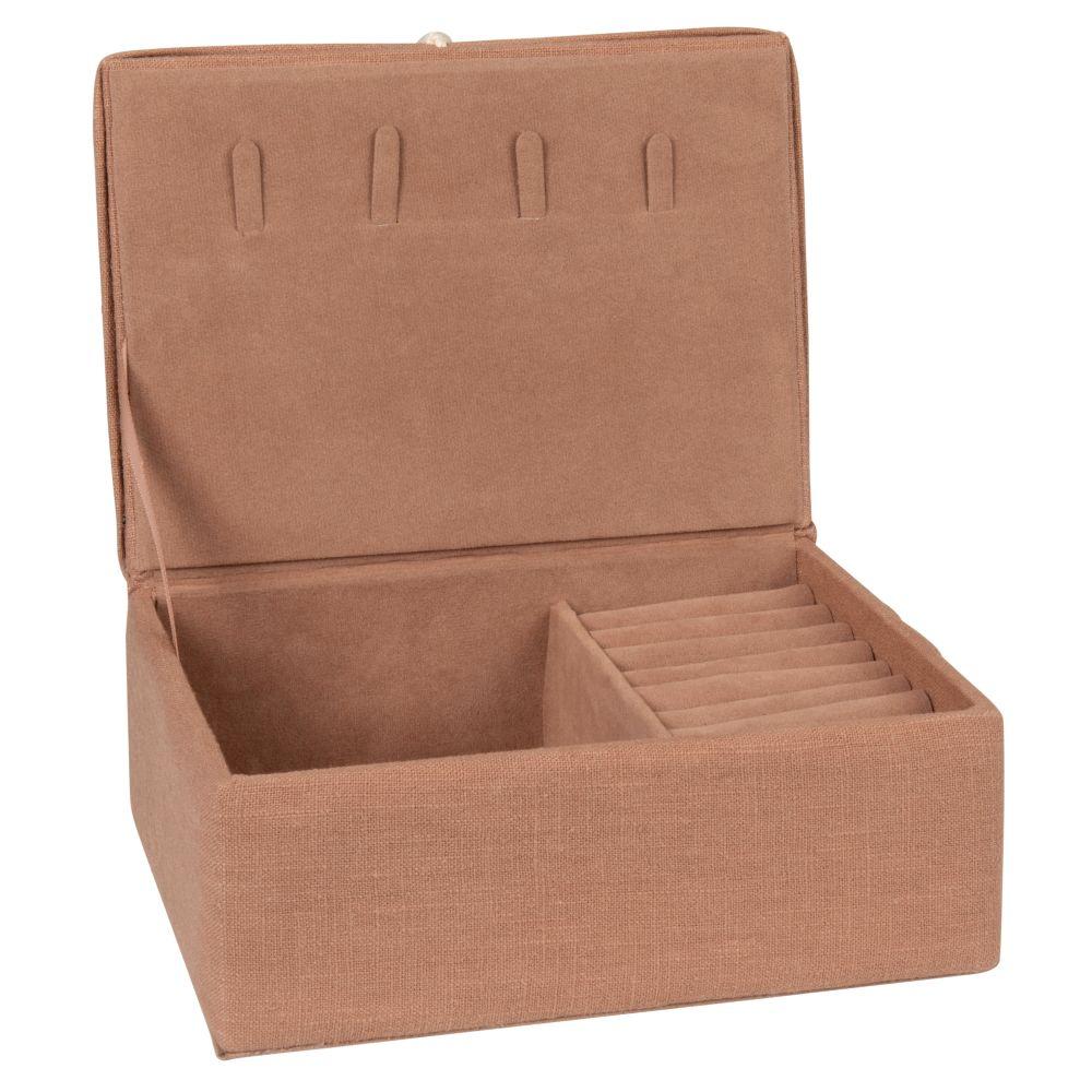 Boîte à bijoux en coton rose