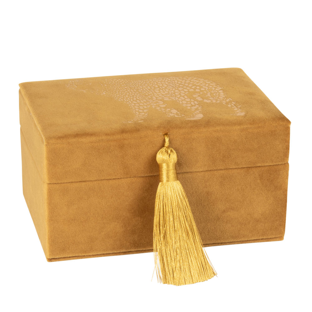 Boîte à bijoux en velours jaune moutarde motif guépard