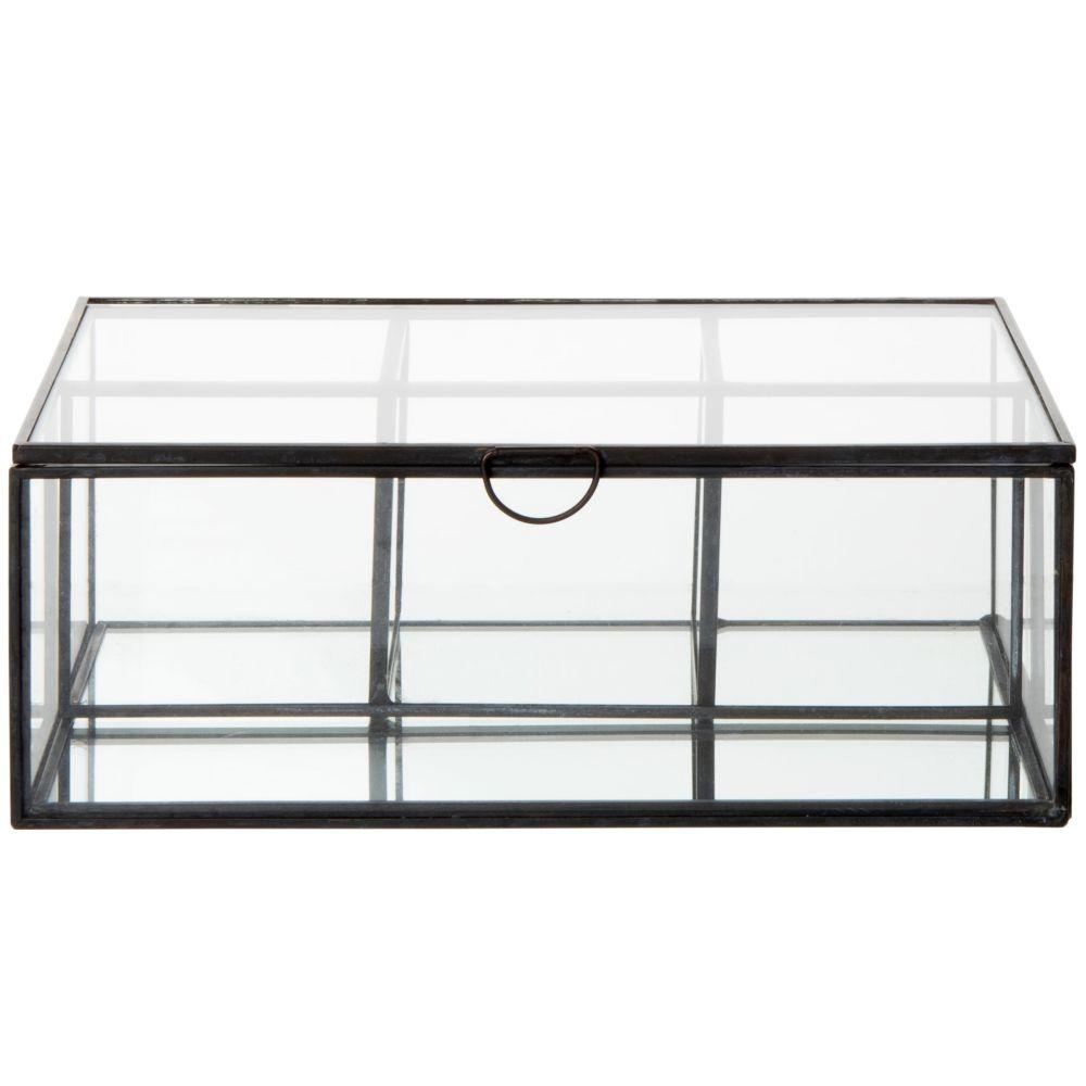 Boîte à bijoux en verre et métal noir