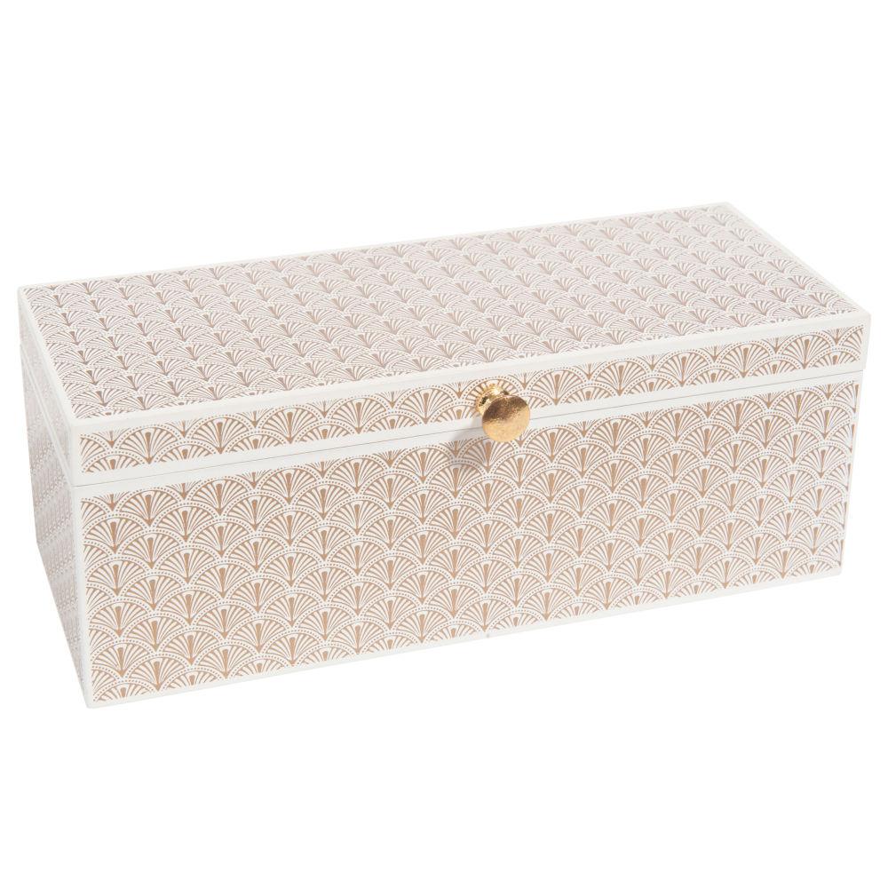 Boîte à bijoux motifs graphiques blancs et dorés