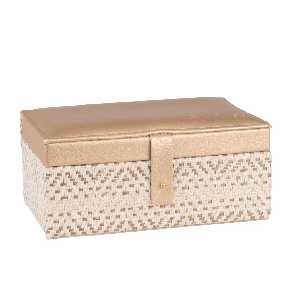 Boîte à bijoux tressée bicolore en velours beige