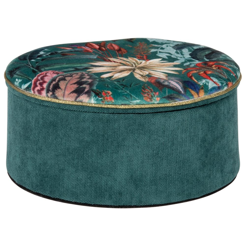 Boîte à bijoux verte imprimé tropical multicolore