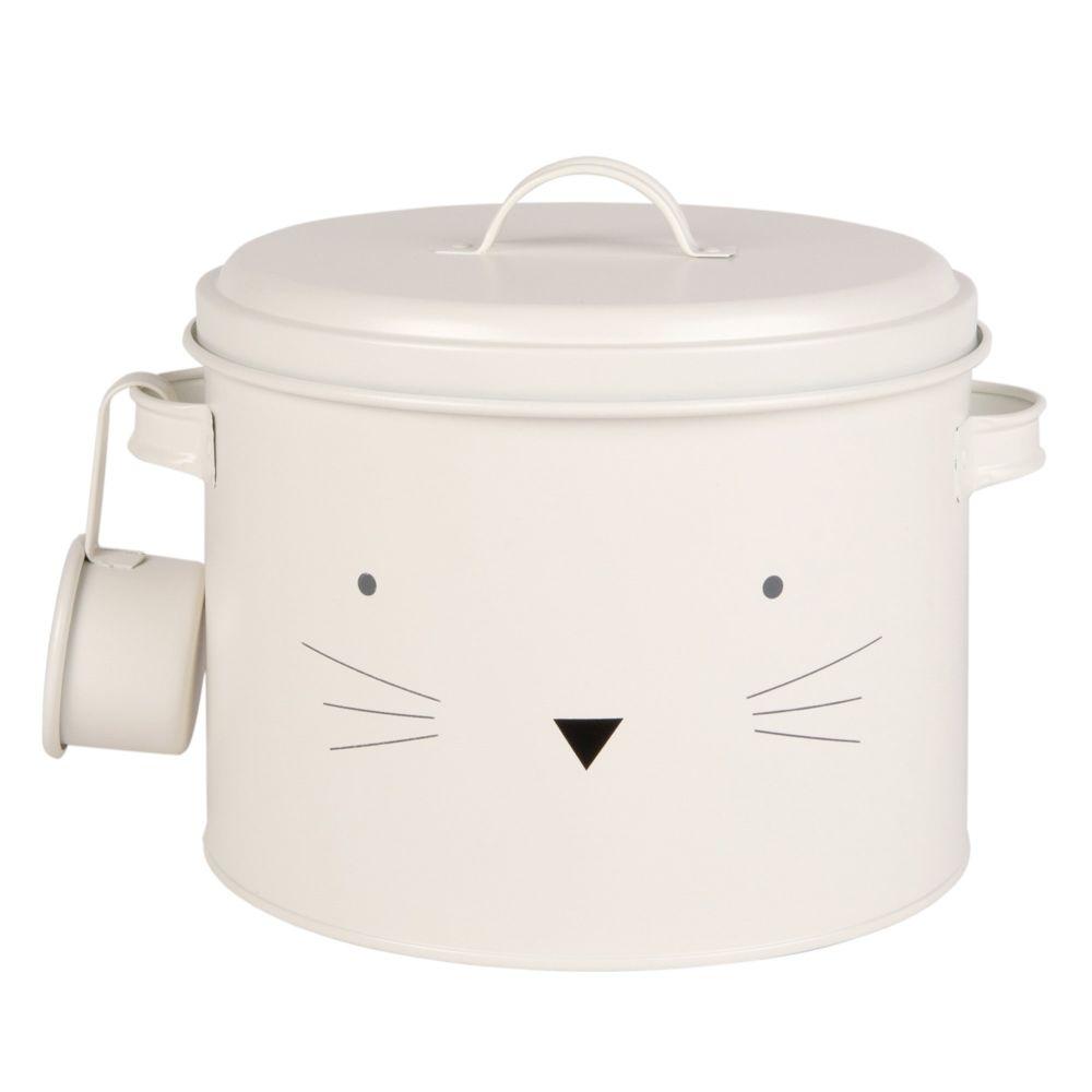 Boîte à croquettes pour chat en métal blanc