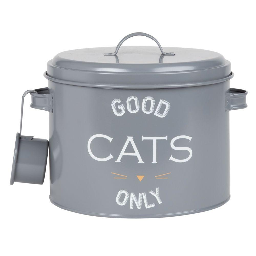 Boîte à croquettes pour chat en métal gris imprimé avec louche