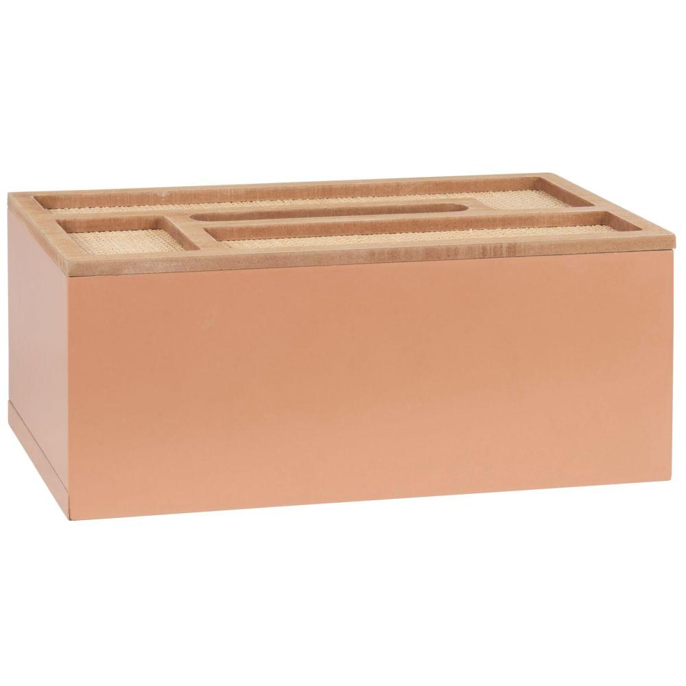 Boîte à mouchoirs rose et beige