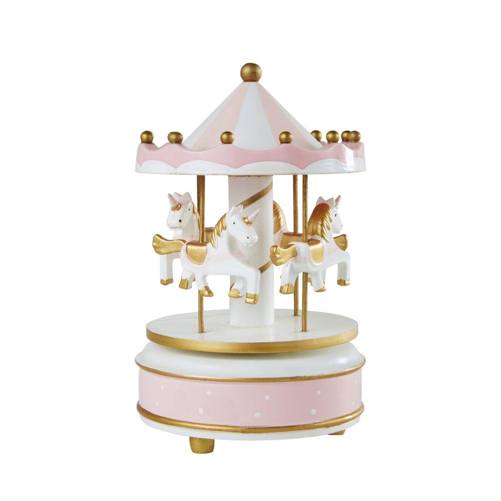 Boîte à musique carrousel licornes rose, blanche et dorée