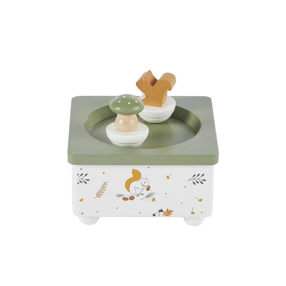 Boîte à musique écureuil et champignon verte, blanche et orange