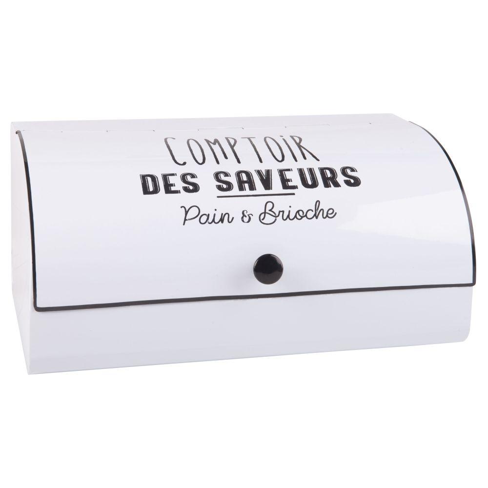 Boîte à pain en métal blanc imprimé noir