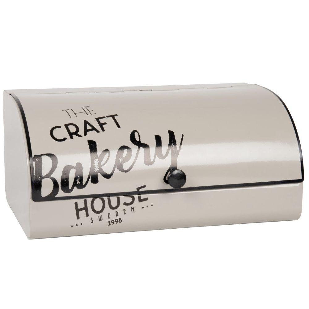 Boîte à pain en métal taupe avec inscriptions noires