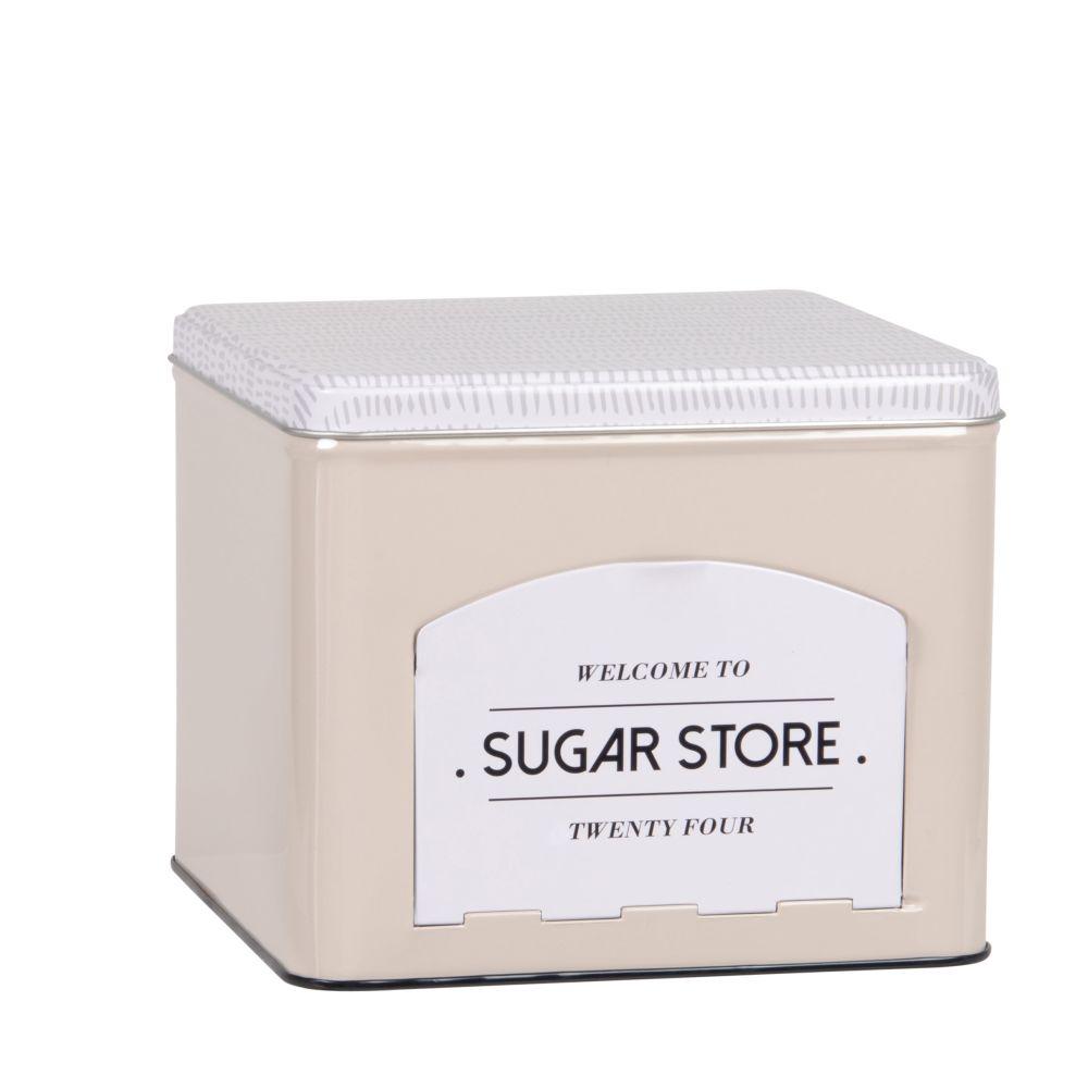 Boîte à sucre en métal gris, écru et noir