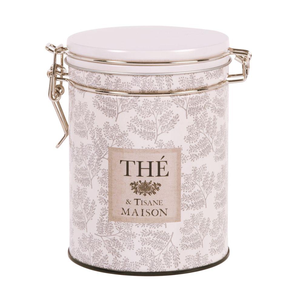 Boîte à thé en métal ivoire et taupe à motifs H13