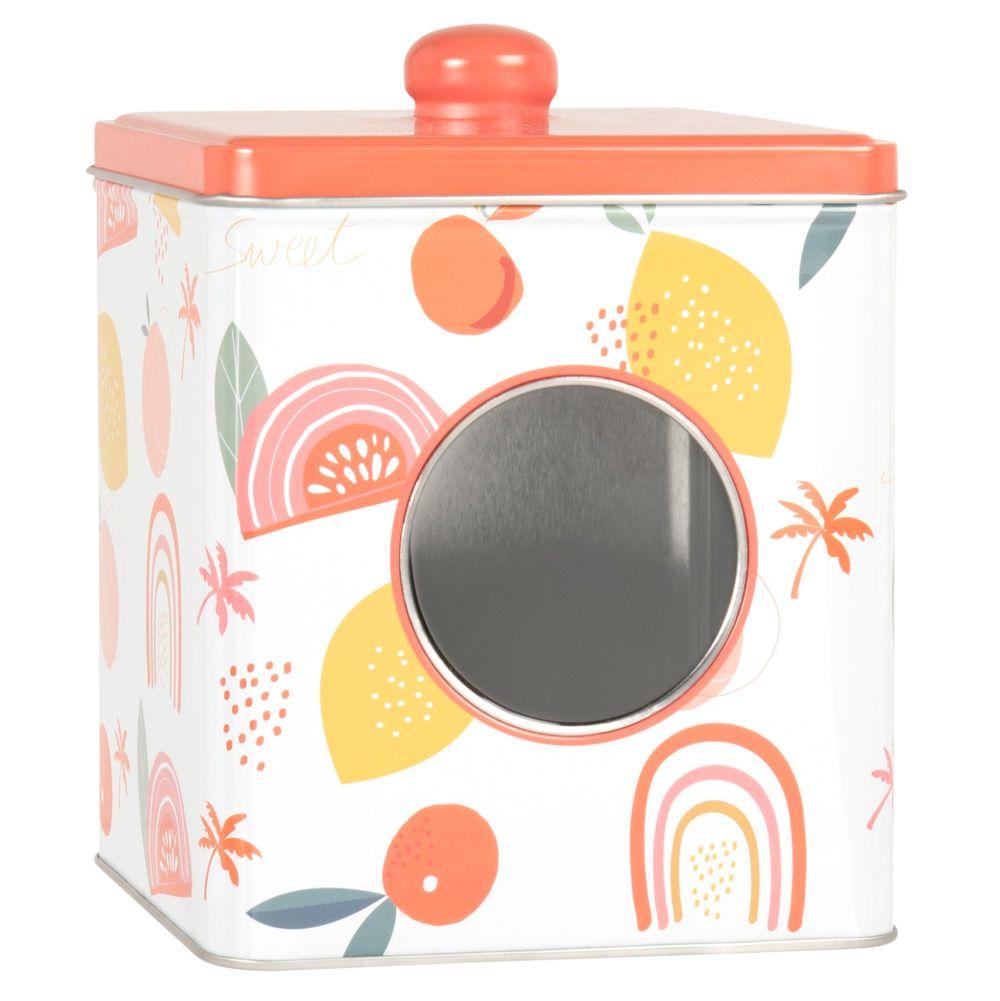 Boîte carrée motifs fruits multicolores