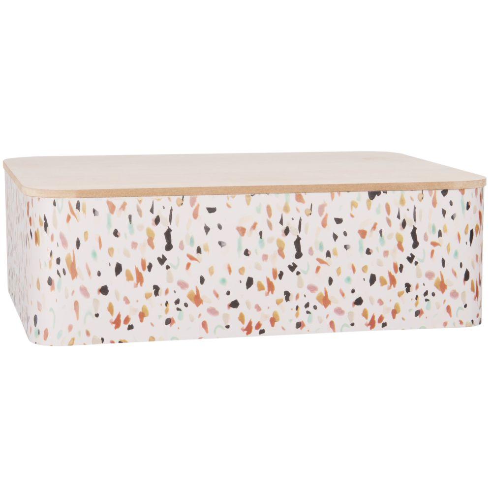 Boîte de rangement en métal blanc à motifs multicolores