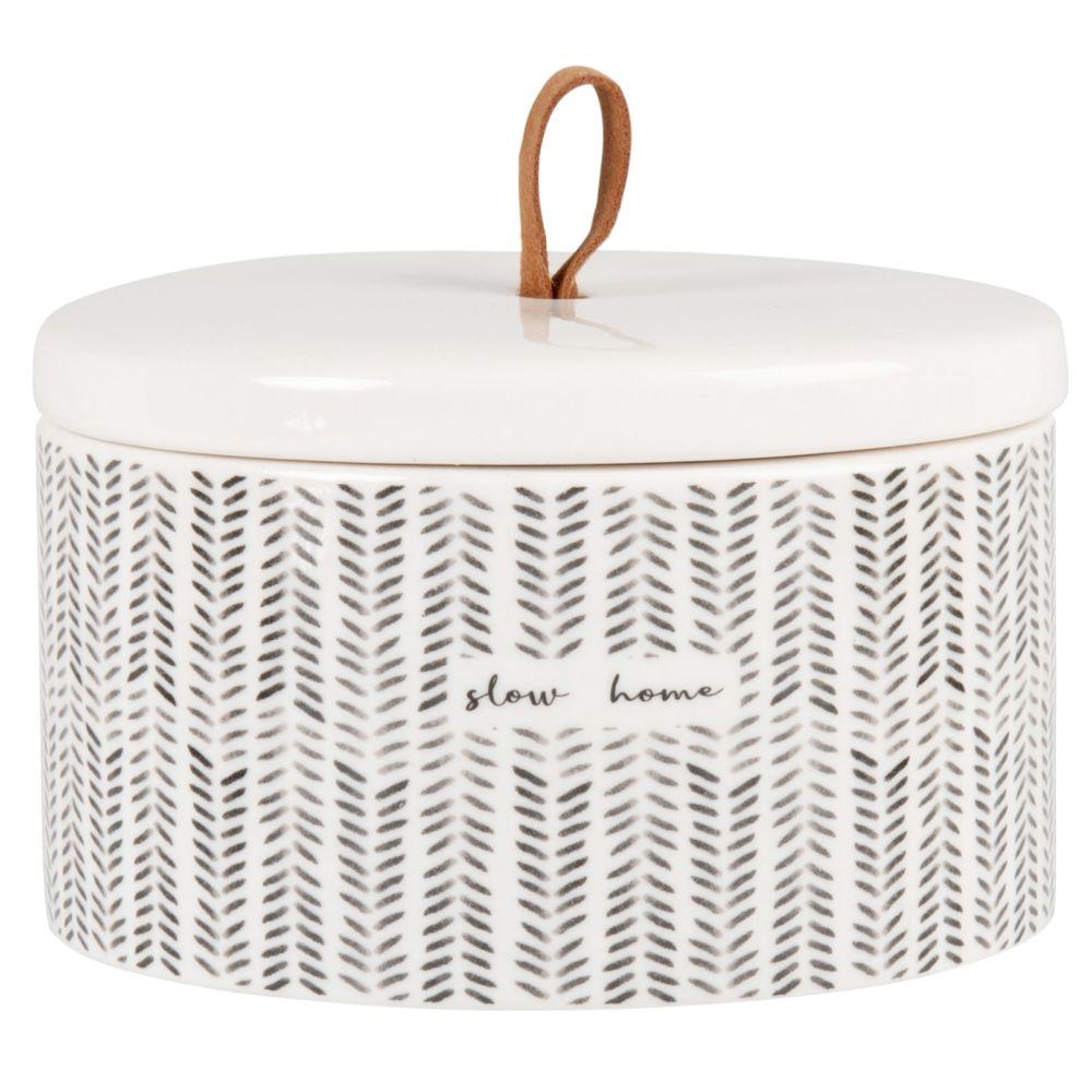Boîte déco en porcelaine blanche à motifs noirs